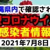 2021年7月8日に発表された沖縄県内で確認された新型コロナウイルス感染者情報一覧