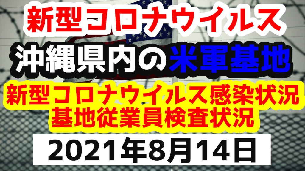 【2021年8月14日】沖縄県内の米軍基地内における新型コロナウイルス感染状況と基地従業員検査状況