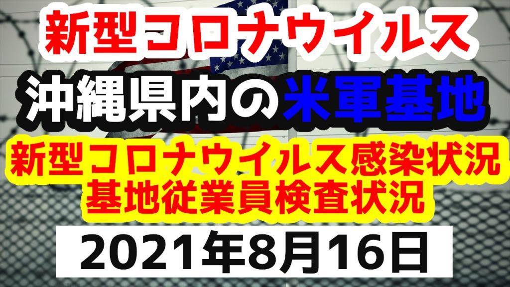 【2021年8月16日】沖縄県内の米軍基地内における新型コロナウイルス感染状況と基地従業員検査状況