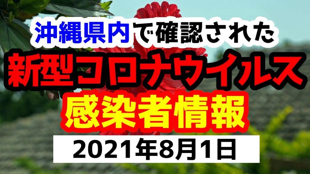 2021年8月1日に発表された沖縄県内で確認された新型コロナウイルス感染者情報一覧