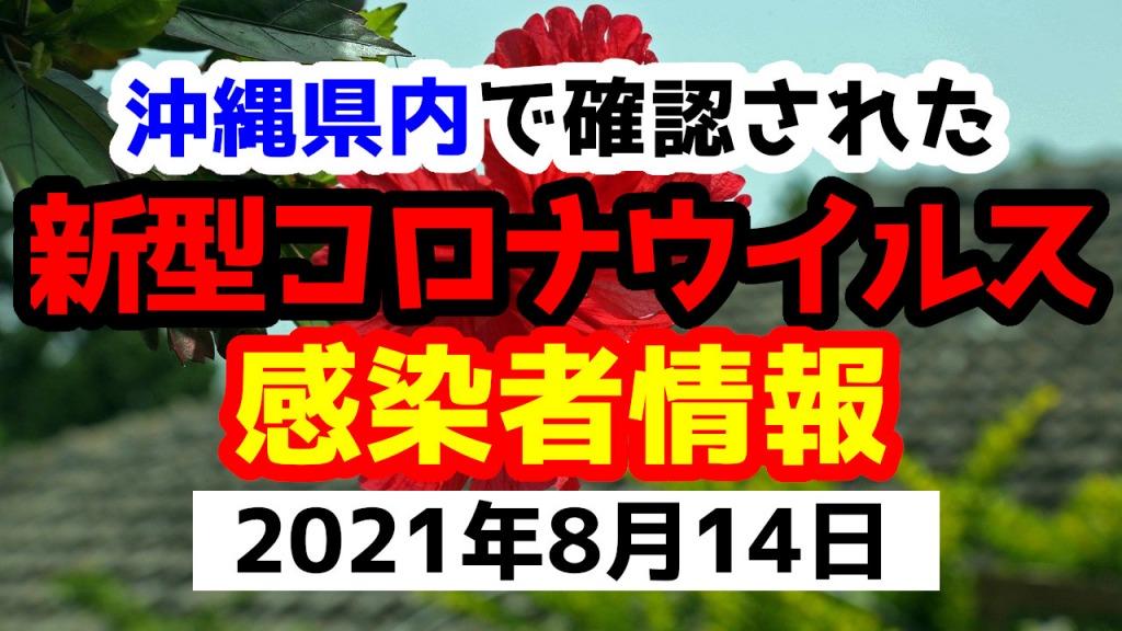 2021年8月14日に発表された沖縄県内で確認された新型コロナウイルス感染者情報一覧