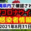 2021年8月31日に発表された沖縄県内で確認された新型コロナウイルス感染者情報一覧