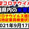 【2021年9月17日】沖縄県内の米軍基地内における新型コロナウイルス感染状況と基地従業員検査状況