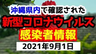 2021年9月1日に発表された沖縄県内で確認された新型コロナウイルス感染者情報一覧