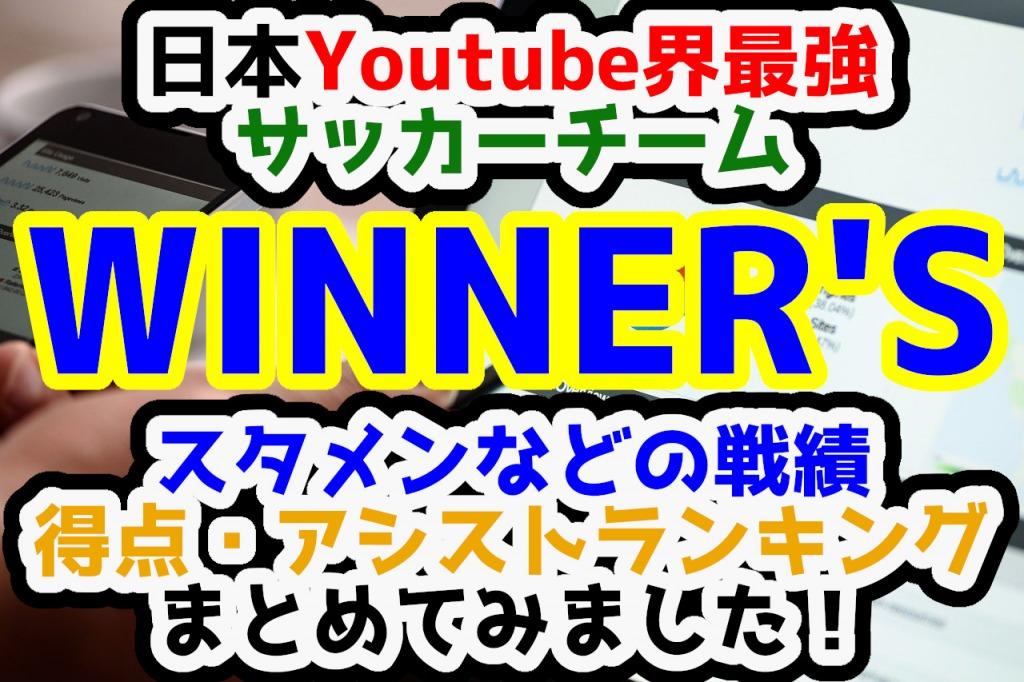 【最新版】日本Youtube界最強のサッカーチーム「WINNER'S(ウィナーズ)」の戦績や得点、アシストランキングをまとめてみました!