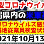 【2021年10月13日】沖縄県内の米軍基地内における新型コロナウイルス感染状況と基地従業員検査状況