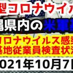 【2021年10月7日】沖縄県内の米軍基地内における新型コロナウイルス感染状況と基地従業員検査状況
