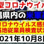 【2021年10月8日】沖縄県内の米軍基地内における新型コロナウイルス感染状況と基地従業員検査状況