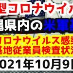 【2021年10月9日】沖縄県内の米軍基地内における新型コロナウイルス感染状況と基地従業員検査状況