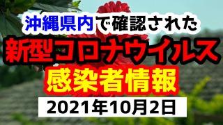 2021年10月2日に発表された沖縄県内で確認された新型コロナウイルス感染者情報一覧