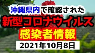 2021年10月8日に発表された沖縄県内で確認された新型コロナウイルス感染者情報一覧