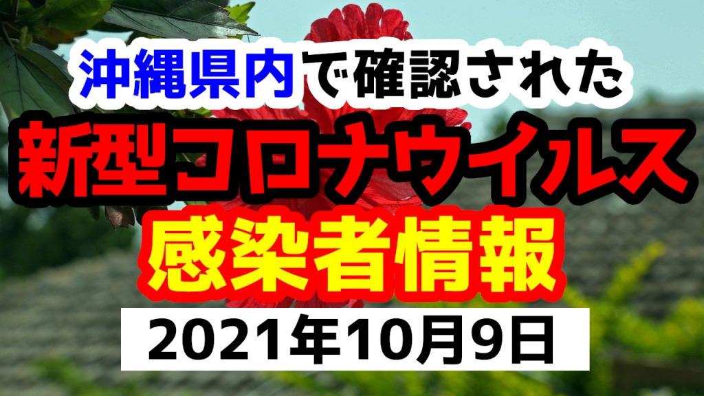 2021年10月9日に発表された沖縄県内で確認された新型コロナウイルス感染者情報一覧